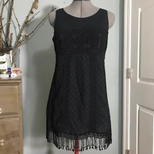 Black Cotton Eyelet Lace Dress